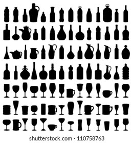 Bottle, Glass and Jug Silhouettes, Vector