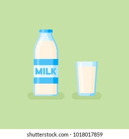 Bottle and glass with milk isolated on green background. Flat style icon. Vector illustration.
