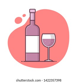 bottle and glass of red wine icon vector illustration in monoline / line art style