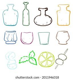 Silhouettes en bouteille et en verre, image vectorielle. Découvrir la peinture numérique de bouteilles et de formes de verres et d'ingrédients de cocktail de chaux de menthe de glace et d'olives. Idée d'illustration pour la conception du menu à barres