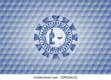 bottle and glass of wine icon inside blue badge with geometric pattern background.