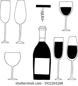 bottle, glasses with wine and empty and corkscrew set icon, sticker. sketch hand drawn doodle style. minimalism, monochrome. drinks, bar