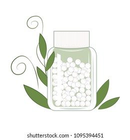 Bottle with gomeophatic granulas. Homeopathic and herbal pills, vector illustration