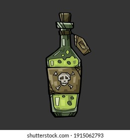 A bottle of green poison and a label with a skull on it. The illustration is made in a cartoon style