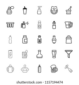 Bottle icon. collection of 25 bottle outline icons such as baby toy, perfume, nail polish, filter, pepper, drink, milk, champagne. editable bottle icons for web and mobile.