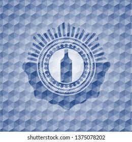 bottle icon inside blue polygonal emblem.