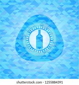 bottle icon inside light blue emblem with mosaic ecological style background