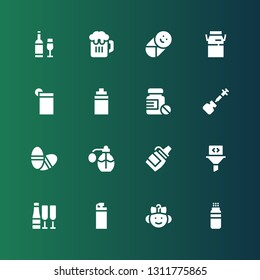 bottle icon set. Collection of 16 filled bottle icons included Powder, Baby, Bottle, Champagne, Filter, Sauce, Perfume, Pills, Vaccine, Isotonic, Drink, Milk, Beer, Wine
