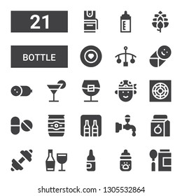 bottle icon set. Collection of 21 filled bottle icons included Baby food, Milk bottle, Ampoule, Wine, Fitness, Juice, Beer tap, Minibar, Beer can, Pills, Cooler, Pirate, Whiskey