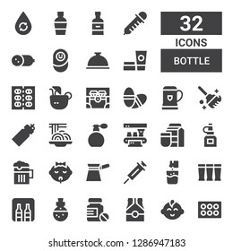 bottle icon set. Collection of 32 filled bottle icons included Eyeshadow, Baby boy, Beer, Pills, Potion, Minibar, Effervescent, Vaccine, Filter, Baby, Oil bottle, Milk,