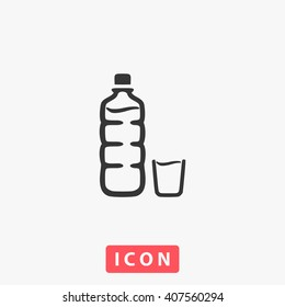 bottle Icon Vector. Simple flat symbol. Perfect Black pictogram illustration on white background.