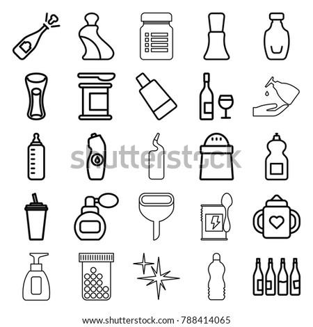 Bottle Icons Set 25 Editable Outline Stock Vector (Royalty