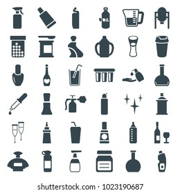Bottle icons. set of 36 editable filled bottle icons such as oil, tank, nail polish, perfume, cream tube, clean, cleanser, liquid soap, spray paint, drink, ketchup, milk glass
