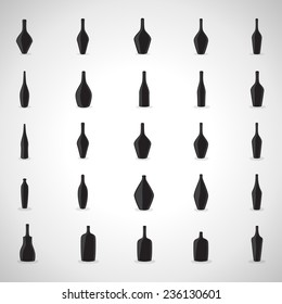 Bottle Icons Set - Isolated On Gray Background - Vector Illustration, Graphic Design Editable For Your Design