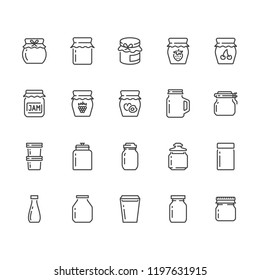 Bottle of jam flat line icons. Glass packaging for fruit confiture, raspberry strawberry jelly container vector illustrations. Thin signs for sweet food store. Pixel perfect 64x64. Editable Strokes.