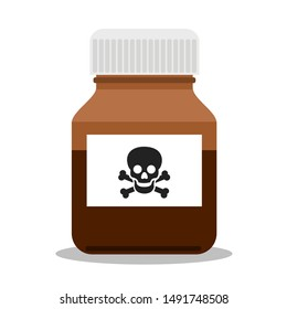 Bottle, jar and container for madicine has warning label - danger of overdosage by drug, medicine, pill and poisonous poison. Vector illustration