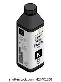 A bottle of laser printer toner powder - black.
