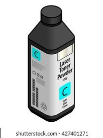 A bottle of laser printer toner powder - cyan.