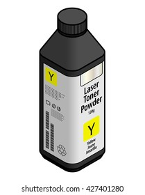 A bottle of laser printer toner powder - yellow.