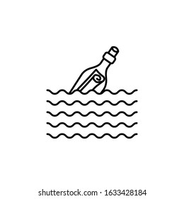 bottle, letter, message in sea line icon on white background