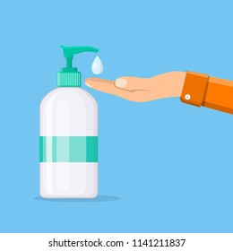 Bottle of liquid antibacterial soap with dispenser. Man washing hands. Moisturizing sanitizer. Disinfection, hygiene, skin care concept. Vector illustration in flat style