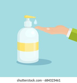 Bottle of liquid antibacterial soap with dispenser isolated on background. Man washing hands. Moisturizing sanitizer. Disinfection, hygiene, skin care concept. Vector illustration. Flat style design