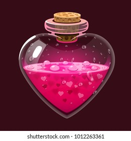 Bottle with love potion. Icon magic elixir. Design for app user interface. Design elements for Valentines day. Vector illustration.