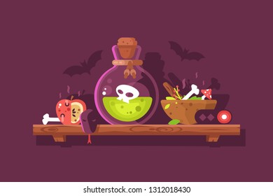 Bottle of magic acid green toxic poison with skull. Bane ingredients such as rotten apple bone snake amanita and poisonous berries vector illustration. Magic lab Halloween party flat style concept