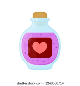 Bottle of magic pink love elixir potion. Vector flat cartoon illustration icon design. Isolated on white background. Love elixir  potion in bottle concept