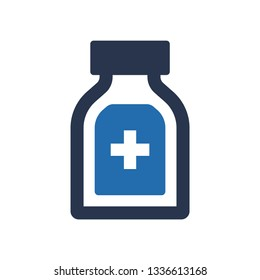 Bottle with medicine icon, Cough syrup icon, syrup icon vector on white background, syrup trendy filled icons from Health and medical collection