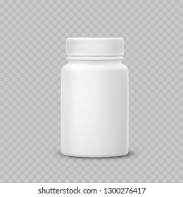 Bottle mockup isolated on transparent background. White medicine plastic package for pills, vitamins or capsules. Vector empty  jar, container mock up.