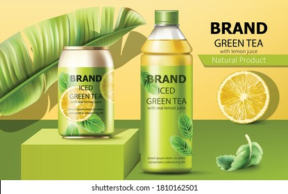 Bottle of natural ice green tea with real lemon juice surrounded by a palm and mint leaves. 3D mockup with product placement. Vector