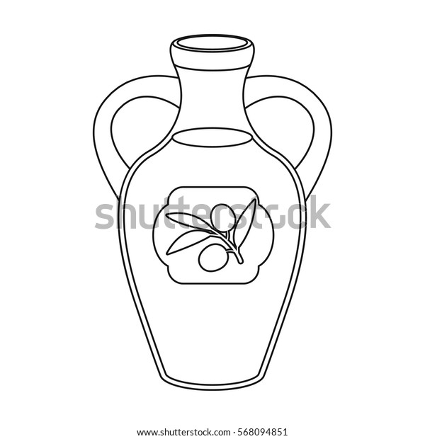 Bottle of olive oil icon in outline style isolated on white background. Spain country symbol stock vector illustration.