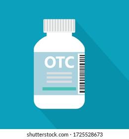 Flasche mit OTC Over Drug - Vektor-Abbildung