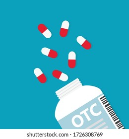 bottle with OTC Over The Counter drugs - vector illustration