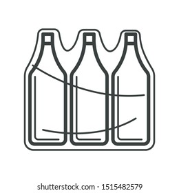 Bottle packaging or glass containers with cap in pack isolated icon vector. Drinking water in plastic wrap, drink in shrink film, clear plastic wrapping. PET packed beverage, recyclable material