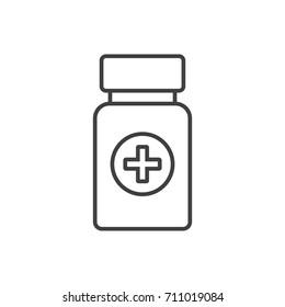 Bottle of pills line icon.
