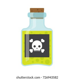 Bottle of poison icon in flat style isolated on white background. vector illustration