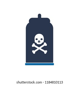 Bottle of poison or poisonous chemical toxin, Poison bottle with death icon