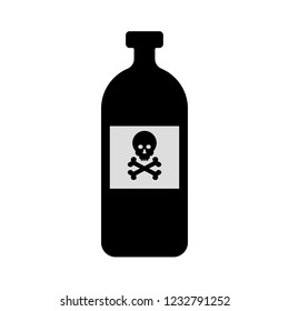 Bottle of poison or poisonous chemical toxin. Vector icon