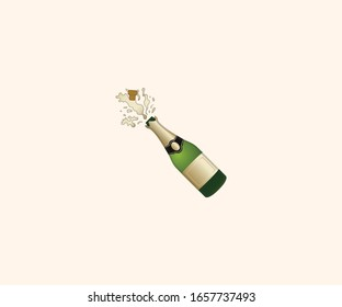 Bottle with Popping Cork vector isolated flat illustration. Champagne icon
