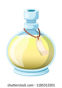 Bottle with potion. Game icon of magic elixir. Yellow potion flat icon. Mana or magic elixir. Vector illustration isolated on white background.