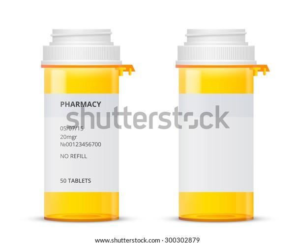 Bottle Prescription Pill Labels Template Vector Stock Vector