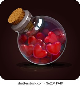 Bottle with red hearts.  Game icon of magic elixir. Vector design for app user interface. heal, love potion, elixir of life, additional life increasing life