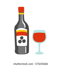 Bottle Of Red Wine And A Glass Of Alcohol Drink Primitive Cartoon Icon, Part Of Pizza Cafe Series Of Clipart Illustrations