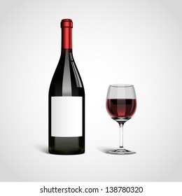 Bottle with red wine and glass, eps10 vector