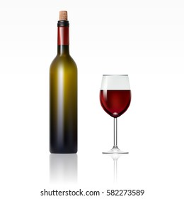 Bottle With Red Wine And Glass. EPS10 Vector