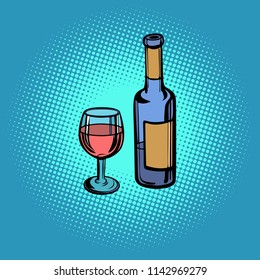 A bottle of red wine and a glass. Pop art retro vector illustration kitsch vintage