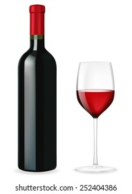 Bottle of red wine with a glass - vector drawing isolated