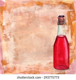 A bottle of rose sparkling wine on a textured background, scalable vector graphic